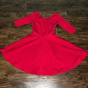 Lulus Red Scallop Neck Skater Dress